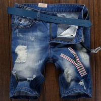 Weathered Ripped Holes Slim Pants Jeans [6541766531]