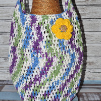 Tote- Blue, Purple, Green, and White with Yellow Flower