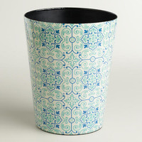 Blue Turquoise Tile Trash Can