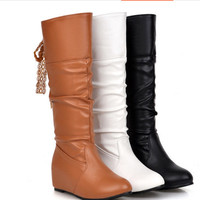 Lady's Lace Knot High incresing Heel Pointy Toe Boots Big size 34- 43 Mid-Calf Wedge Botas Women Pumps Thigh High Warm Fur Booty
