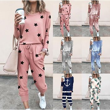 Loose printed long sleeve casual suit