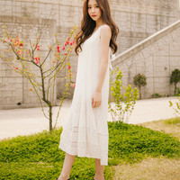 Self-Tie Back Sleeveless Dress | mixxmix
