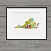 Virginia Love - VA Canvas Paper Print:  A Modern and Colorful Abstract Watercolor Style Original Art Piece / Home State Love Map