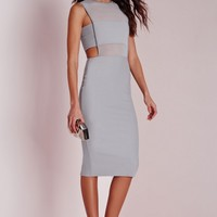 Missguided - Crepe Sleeveless Cut Out Midi Dress Grey
