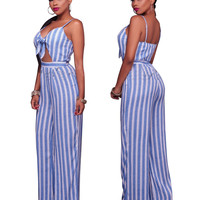Light Blue Front-tied  Vertical Stripe Strappy Jumpsuit