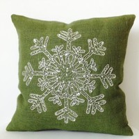 Amore Beaute Handmade Snow Flake Pillow Covers - Christmas Pillow Case - Green Pillow Cover - Cute Pillow - Snowflake - Green Pillow Covers - Burlap Pillow Covers - Throw Pillow Case - Christmas Cushion Covers - Silver Sequin Snow Pillow Covers - Christmas
