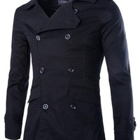 jeansian Men's Fashion Classical Double Breasted Solid Jacket Coat Outwear Tops 9341