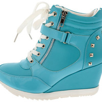 ADRIANAM2 BLUE STUDDED SNEAKER WEDGE BOOT