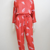 Light As A Feather - Vintage 80s Jumpsuit Pantsuit Romper Jumper Orange Feather Print