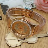 New Arrival Good Price Trendy Designer's Awesome Gift Great Deal Hot Sale Alloy Stylish Diamonds Matte Stainless Steel Band Watch [11912230419]