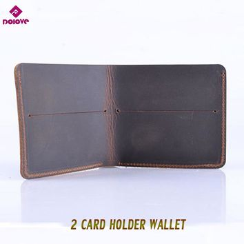 DOLOVE 100% cow genuine leather men wallets vertical style Crazy horse leather newest desgin male purse  free shipping
