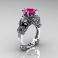 Love and Sorrow 14K White Gold 3.0 Ct Pink Sapphire Skull and Rose Solitaire Engagement Ring R713-14KWGSPS