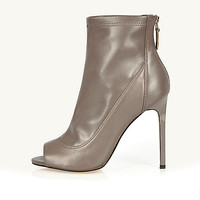Grey leather peep toe heeled ankle boots - shoes / boots - sale - women