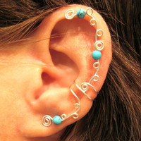 "Non Pierced Cartilage Ear Cuff ""Swirls and Stones"" Color Choices"