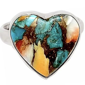 Spiny Oyster Blue Turquoise Sterling Silver Heart Ring