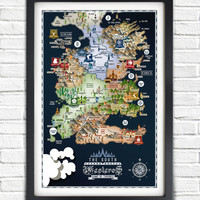 Game of Thrones - The SOUTH - Westeros Map - 17x11 Poster