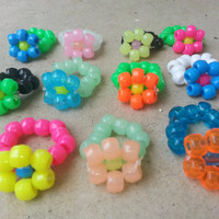 23 Pack Kandi Daisy Flower Rings Assorted or Custom Colors