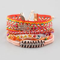 Full Tilt 5 Piece Hamsa/Woven/Braided Bracelets Red Combo One Size For Women 25360834901