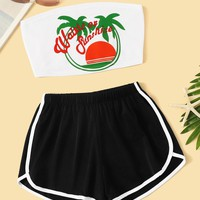 Letter Print Tube Top With Contrast Trim Shorts