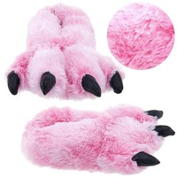 "Wishpets 15"" Pink Furry Tiger Plush Slippers Medium"