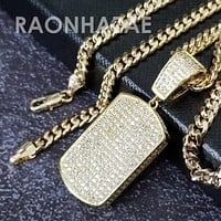 Hip Hop Blinged Out Dog Tag Pendant w/ 5mm Miami Cuban Chain