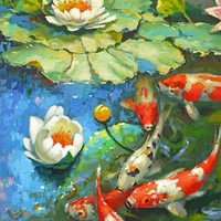 Water lily - suny pond2 oil painting on canvas by Dmitry Spiros, 100 x 70 cm