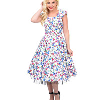1950s Style White Floral Watercolor Cap Sleeve Swing Dress