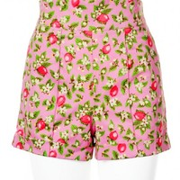 High-Waisted Shorts in Pink Lemonade Print - Plus Size