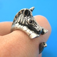 Zebra Horse Animal Wrap Around Ring in Silver - Sizes 4 to 9 Available
