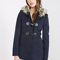 FOREVER 21 Hooded Toggle Topcoat