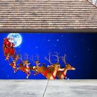 Christmas Garage Door Cover Banners 3d Santa In A Sleigh Holiday Outside Decorations Outdoor Decor for Garage Door G35