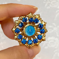 Vintage Virgin Mary Guilloche Gold Brooch Pin with Sapphire Blue Rhinestones