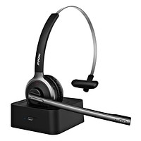 Mpow M5 Pro Bluetooth Headset with Microphone, Wireless Headphones for Cell Phone, Noise Canceling Headset with Charging Base for PC, Laptop, Truck Driver, Office, Call Center, Skype Black