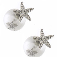 Starfish and Pearl Ball Double Stud Earrings - Silver