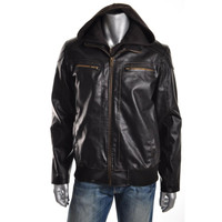 Guess Mens Faux Leather Knit Trim Bomber Jacket