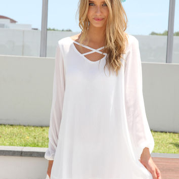 White Long Sleeve Dress with Cross Front Neckline