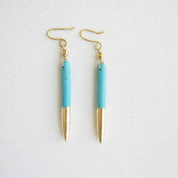 Turquoise Dagger Earrings dipped in Gold