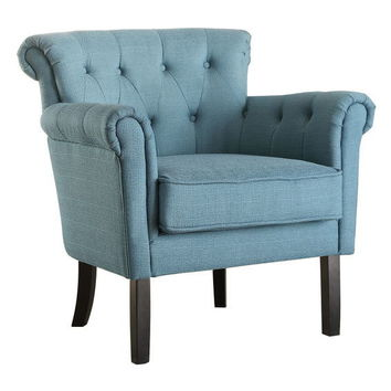 Home Elegance 1193F5S Barlowe collection teal fabric upholstered tufted back accent chair with dark cherry legs