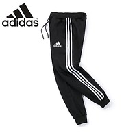 ADIDAS winter trend men and women three bars casual pants black+white logo