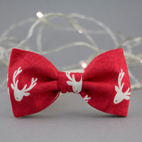 Children's Bow Tie Christmas Bow Tie Red Nose Reindeer Bow Tie for Kids Toddler Bow Tie Christmas Optional Set for Father and Son Bow Ties