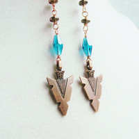 Tribal Copper Arrowhead & Teal Crystal Long Beaded Chain Earrings