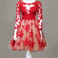 Red Lace O-Neck Homecoming Dresses ,Long Sleeve Homecoming Dresses,Homecoming Dress