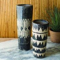 Black And White Ceramic Cylinder Vases (Set of 2)