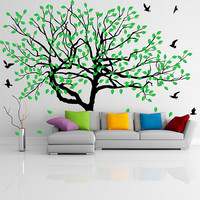 Vinyl Wall Decal Stylish Huge Thin Tree with Falling Leafs and Birds / Nature Art Decor Home Sticker / DIY Mural + Free Random Decal Gift