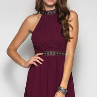 Fall Elegance Halter Dress - Burgundy