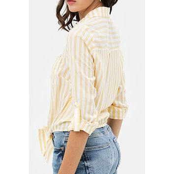 Relaxed Cotton Striped Long Sleeve Button Down Shirt