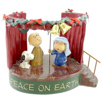 Dept 56 Accessories PEACE ON EARTH Ceramic Peanuts Charlie Brown Snoopy 59124