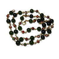 Dark Green Jade Beads and Red Cloisonne Long Bead Necklace, Gold,