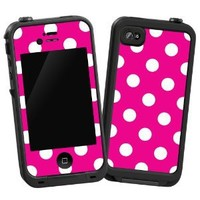 "White Polkadot on Hot Pink ""Protective Decal Skin"" for LifeProof iPhone 4/4s Case"