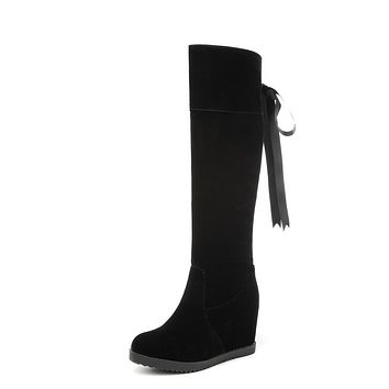 Tall Boots Winter Shoes for Woman Black Wedge Heels 6205